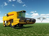 picture of combine  - Computer generated 3D illustration with a combine harvester - JPG