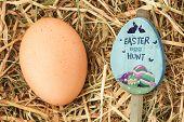 image of egg-laying  - Easter egg hunt sign against egg nestled in straw - JPG