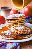 picture of maple syrup  - Stack of pancakes with maple syrup on wood table - JPG