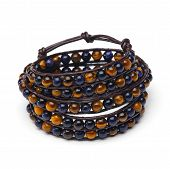 picture of tiger eye  - Handmade wrap bracelet of natural stone beads with tiger eye effect - JPG