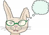 picture of bent over  - Isolated bunny with tears and glasses over white background - JPG