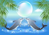 pic of leaping  - Dolphins leaps from water on the background of clouds and palms - JPG