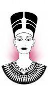 foto of nefertiti  - Nefertiti Illustration with a pink circle of light in her back - JPG