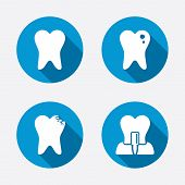 stock photo of tooth  - Dental care icons - JPG