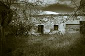 stock photo of abandoned house  - monochrome of an abandoned house in a rural place - JPG