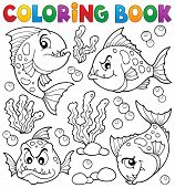 foto of piranha  - Coloring book piranha fishes theme  - JPG