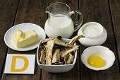 stock photo of yolk  - Ingredients rich in vitamin D - JPG