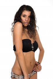 picture of slender  - Tall slender brunette in a black bandeau top and leopard print panties - JPG