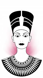 stock photo of nefertiti  - Nefertiti Illustration with a pink circle of light in her back - JPG