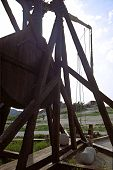 picture of trebuchet  - medieval war machine in a french castle - JPG