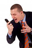 Männchen schrie das Handy