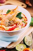 pic of thai cuisine  - Tom Yum Kung and condiments  - JPG