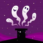 Happy Halloween ghosts flying around black chimney silhouette
