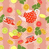 pic of teapot  - Seamless bright pattern with teapot - JPG