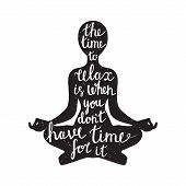 picture of pranayama  - Meditation black silhouette with relaxation statement on white background - JPG