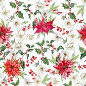 foto of christmas flower  - Beautiful vector pattern with nice watercolor christmas flowers - JPG