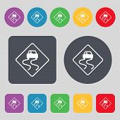 stock photo of slippery-roads  - Road slippery icon sign - JPG
