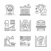 stock photo of ct scan  - Flat black line design vector icons for medical research - JPG