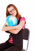 The teacher of geography with the globe.