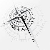 pic of wind instrument  - Black wind rose silhouette isolated on white background - JPG