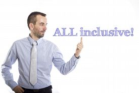 picture of all-inclusive  - All inclusive Young businessman with small beard touching text - JPG