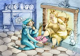 picture of cinderella  - Prince tries the slipper to a Cinderella different from what was expected - JPG