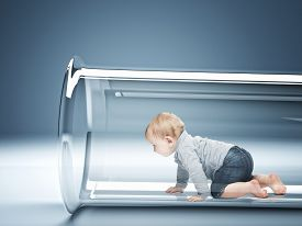 stock photo of tubes  - caucasian baby in test tube 3d - JPG