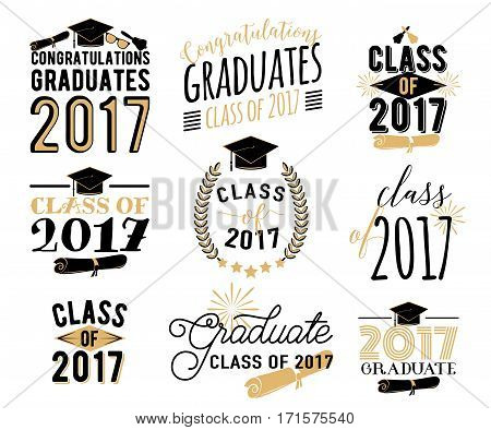 Graduation Wishes Overlays, Lettering Labels Design Set. Retro Graduate  Class.