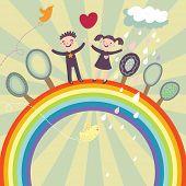Happy children under rainbow - cute cartoon illustration
