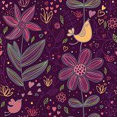 Cartoon seamless pattern in purple