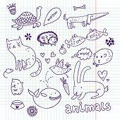 Animals doodle set