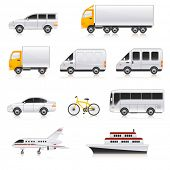 stock photo of tractor-trailer  - transport icons - JPG