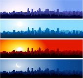 image of city silhouette  - City silhouette at different time of the day - JPG