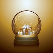 Gold Christmas snow globe with gift boxes within