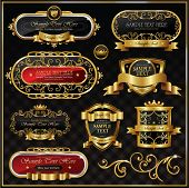 picture of aristocrat  - Vintage vector gold frame on black background - JPG