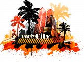 Summer beach concept downtown party city with palm tree and colorful paint splat