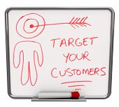 A white dry erase board with red marker, with the words Target Your Customers