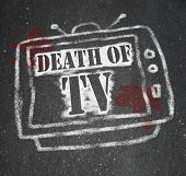 A chalk outline of a dead television, a victim of the war of new media technologies (internet, socia