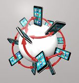 Many modern smart phones with apps on their touch screens around a global communication network, con