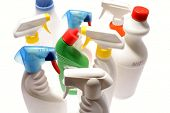 stock photo of trigger sprayer bottle  - Cleaning bottles - JPG