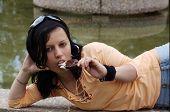 Teen Girl Eating Ice Cream