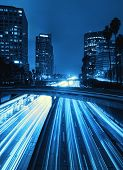 Modern Urban City with Freeway Traffic at Night, Down Town Los Angeles