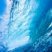 Aqua Blue Wave Breaks in Ocean
