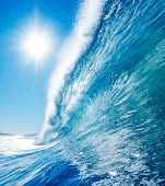 Blue Surfing Wave, Sunny Blue Sky