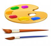 art palette with paint and brushes vector illustration