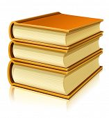 group of paper books with blank cover - vector illustration