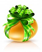 gold easter egg with green ribbon isolated - vector illustration