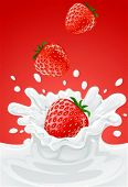 red strawberry fruits falling into the milky splash - vector illustration