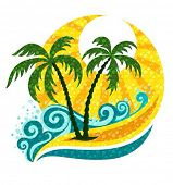 tropical palm in marine breaker and sunlight - vector illustration
