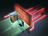 Firewall creates a safe zone for a workstation. 3D illustration. poster